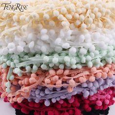 FENGRISE Lace Pompom Trim 5yard 1cm Pom Pom Decoration Tassel Ball Fringe Ribbon DIY Materials Apparel Sewing Fabric Cord