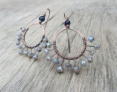 Small hoop earrings Labradorite earrings Blue and by PixiesForest
