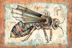 Steampunk Drawing, Steampunk Kunst, Steampunk Design, Steampunk Animals, Steampunk Accessories, Art Drawings For Kids, Robot Art, Human Art, 3d Max