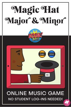 Kids love these web-based activities! Magic Hat Major  Minor takes excerpts from classical music, scales, arpeggios, and chords and turns them into a self-paced game with instant feedback for music lessons. These Boom Cards work with Google Classroom, SeeSaw, and more school platforms. They can also be printed as worksheets for no-tech centers for your lesson plans or non-singing music sub plans. They are perfect for online distance learning, and can be played on any your browser!#sillyomusic Music Sub Plans, Music Lesson Plans, Music Lessons, Art Lessons, Music Education, Music Teachers, Music Class, Physical Education, Health Education
