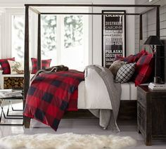 Buffalo Check Duvet Cover & Sham. Pottery Barn. We took our inspiration from your coziest plaid shirt to design this inviting bedding. The bold punch of color makes a statement in your room.