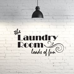 Vinyl wall art. The laundry room, loads of fun. Custom wall vinyl decal for laundry room.  Funny laundry room saying.  Wall vinyl home decor by PinkPigPrinting on Etsy