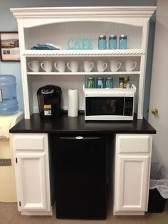 "Superb Curb Refurb - Custom Coffee Bar made from 2 12"" base cabinets, 1 Repurposed Coffee Table Top, and a Desk Hutch on top! GENIUS! www.SuperbCurbRefurb.com #superbcurbrefurb #coffeebar"