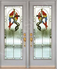 Stained glass inserts for entry doors (parrot design)