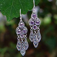 Amethyst chandelier earrings, 'Forest Princess' - Sterling Silver Amethyst Chandelier Earrings