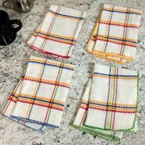Plaid White Kitchen Dishcloths Set of 4
