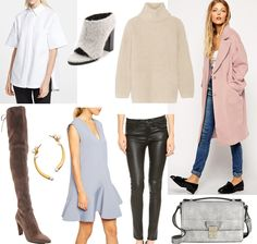 Fashion Over Reason fall 2014 wish list, Proenza Schouler cotton top, Tibi Leona felt mules, Helmut Lang angora turtleneck, ASOS oversized pink coat, Current/Elliot leather pants, ASOS powder blue dress, Amber Sceats gold and pearl ear cuff, Stewart Weitzman over the knee tan suede boots. Click image to shop!