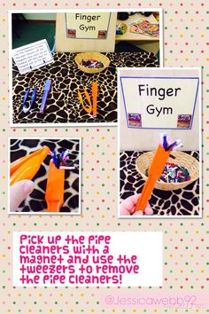 Pick up pipe cleaners with a magnet and use tweezers to remove the pipe cleaners.