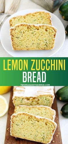 This moist Lemon Zucchini Bread is topped with a sweet lemon glaze and is a summer favorite. Enjoy a slice for breakfast, as a snack, or dessert. Köstliche Desserts, Delicious Desserts, Dessert Recipes, Yummy Food, Healthy Food, Healthy Eating, Lemon Zucchini Bread, Zucchini Bread Recipes, Recipe Zucchini