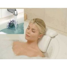 SPA PILLOW- DEEP WATER BATH. Introducing a more comfortable way to enjoy your bath or hot tub. This innovative spa pillow is designed with two sectional pieces to cradle your head, neck, and shoulders. Seven strong suction cups hold the pillow firmly in place, so all you have to do is to relax.