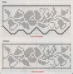 Schemi per il filet: Bordi per asciugamani Crochet Lace Edging, Crochet Borders, Thread Crochet, Crochet Stitches, Filet Crochet Charts, Fibre And Fabric, Diy Pins, White Embroidery, Chrochet