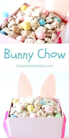 Bunny Chow with Chex Mix Turn Muddy Buddies into a fun Easter treat. Bunny Chow with Chex Mix Turn Muddy Buddies into a fun Easter treat kids and grown-ups will love with this Bunny Chow recipe featuring Chex Cereal. Easter Snacks, Easter Brunch, Easter Food, Easter Appetizers, Desserts For Easter, Easter Baking Ideas, Easy Easter Recipes, Easter Candy, Cute Easter Treats For Kids