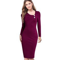 Elegant Ruched Buttons Formal Bodycon Pencil Dress