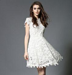 Beaded White Lace Dress