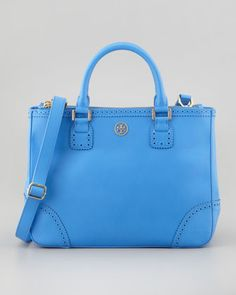 Robinson Spectator Double-Zip Tote Bag, Ocean Blue by Tory Burch at Neiman Marcus.