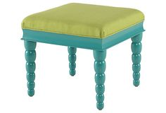 Schaffer Cocktail Table, Lime/Turquoise on OneKingsLane.com. $999.00 ?? I think I could do this with a much less expensive end table, paint and fabric.