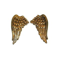 Pair Of Large Antique Bronze Angel Cherub Wings Wall Mounted Hangings... ❤ liked on Polyvore featuring home, home decor, wall art, angel wall art, handmade home decor and handmade wall art