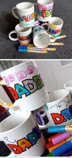 Fathers Day Sharpie Mugs | Easy Fathers Day Crafts for Kids to Make | DIY Birthday Gifts for Dad from Kids