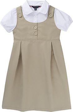 French Toast School Uniform Girls Peter Pan Collar 2-Fer Dress, Khaki, 14