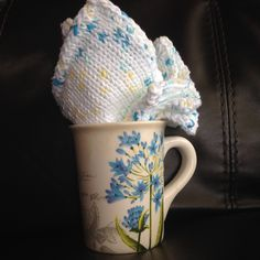 Knit Blue, White and Yellow Cotton washcloths set of 2, Blue coffee/tea mug, Mother's Day, Shower, Housewarming Gift by 1woolygirls on Etsy