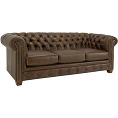Add a luxurious piece of furniture to your living room or office with this brown Italian leather sofa from Hancock. It features a tufted back for extra comfort, and the distressed leather with brass finish studs provides a vintage appearance.