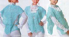 Poncho a Crochet para Primavera Turquesa