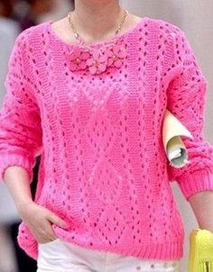 Openwork pattern for pullover Knitting Patterns Free, Knit Patterns, Free Knitting, Free Pattern, Crochet Clothes, Knitwear, Knit Crochet, Pullover, Stitch