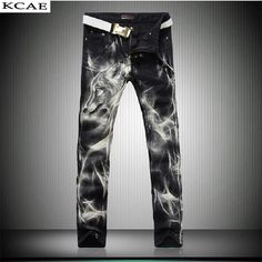 Wolf Print Jeans Pants 2016 New Black Fashion Jeans Men Print Straight Slim Designer Painted Jeans For Men Slacks Jean  #Affiliate