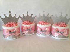 Princess Crown Mini Diaper Cake in Pink and by AllDiaperCakes