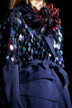 A trench dripping in oil-slick sequins. Dries Van Noten - Fall 2015 Ready-to-Wear