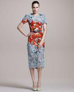 Dolce & Gabbana   Tomato-Print Lace Dress