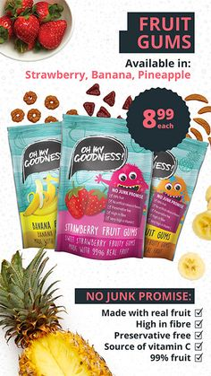Checkers | Healthy Kids Snacks Healthy Snacks For Kids, Yummy Snacks, Fruit Gums, Strawberry Fruit, Superfoods, Pineapple, Tasty, Banana, Pinecone