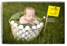 What a cute photo, especially since John loves golf!  Haley will be swinging clubs by the time she's 2 :)