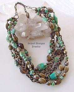 Beautiful Chrysocolla Smokey Topaz Pearl Bronze Necklace from Schaef Designs
