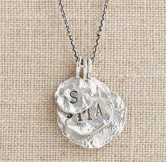 $160, molten coin necklace, sterling silver necklace, personalized name necklace, personalized jewelry, family necklace | #ThreeSistersJewelryDesign for RH Baby & Child