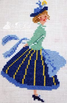 1 point de croix fille en jupe bleue - cross stitch lady in blue skirt