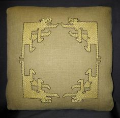 Arts & Crafts Style - Batchelor Cats Design Pillow. Embroidered Linen.