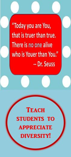 Celebrate Dr. Seuss' birthday. Use this Dr. Seuss quote to teach your students about diversity. Preview this learning styles resource, which contains a Dr. Seuss quote writing activity as well as activities to help students identify how they best learn. #drseuss #learningstyles