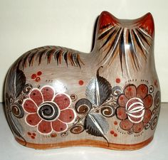VINTAGE MEXICAN CAT Tonala pottery large vg condition by LizAArt