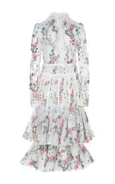 Long Sleeve Floral Embroidered Dress by GIAMBATTISTA VALLI for Preorder on Moda Operandi