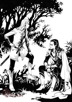 "Thranduil/Elrond by kagalin.deviantart.com on @deviantART - From ""The Lord of the Rings"". No, I don't think this was meant as a pairings piece (I know the title looks like it, but the picture doesn't)."