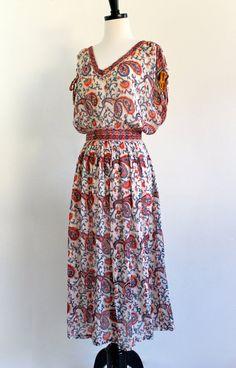 70s Indian Cotton Gauze Dress