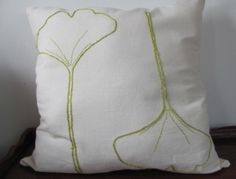Ginko Leaf Hand Embroidered Pillow Cover.  16 by BlueLeafBoutique, $45.00