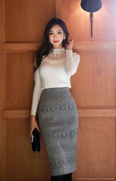 Korean Women`s Fashion Shopping Mall, Styleonme. Skirt Fashion, Fashion Outfits, Womens Fashion, Asian Woman, Asian Girl, Satin Bluse, Korean Fashion Trends, Korean Women, Business Fashion