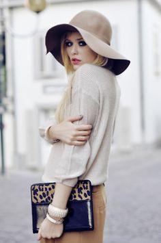 neutrals, hat, leopard print. done.
