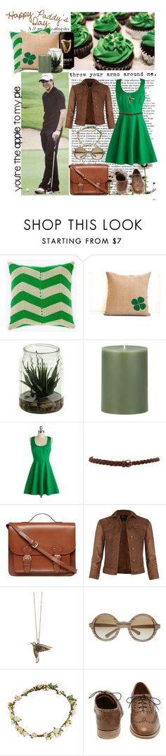 """""""St. Patricks. Niall. Flower crown."""" by little-miss-muffet ❤ liked on Polyvore featuring Crate and Barrel, Dorothy Perkins, AllSaints, Gathering Eye, Emporio Armani, Bundle MacLaren Millinery and Mulberry"""