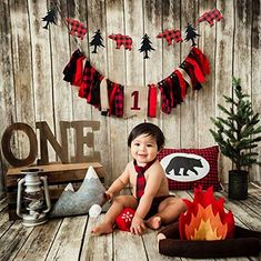 JeVenis Set of 2 Lumberjack Theme Banner Garland Party Supplies Lumberjack Highchair Banner Timber Buffalo Plaid Baby Boy First Birthday Party Photo Backdrop for Kid Birthday Baby Shower Party Decoration