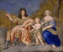 Louis with his wife, Maria Theresa of Spain and his only surviving son, Louis, le Grand Dauphin, by Joseph Werner