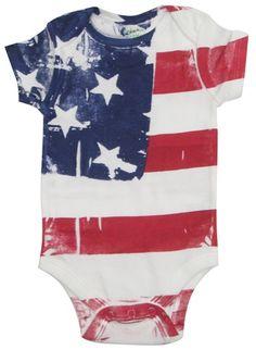 Hand Painted American Flag Onesie