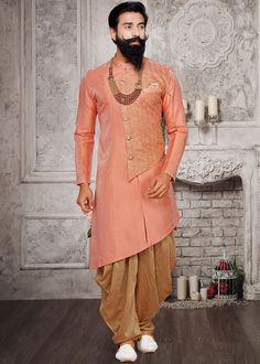 Readymade Peach Asymmetric Sherwani With Dhoti Engagement Dress For Men, Wedding Outfit For Boys, Wedding Dress Men, Indian Wedding Outfits, Wedding Men, Mens Sherwani, Wedding Sherwani, Mens Traditional Wear, Kurtha Designs
